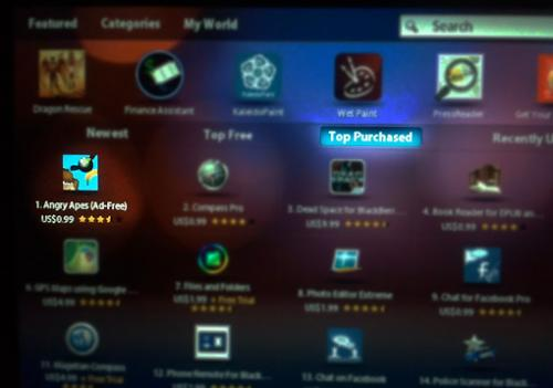 Angry Apes in the Number 1 position in the Top Selling category, on the Blackberry App World for Playbook