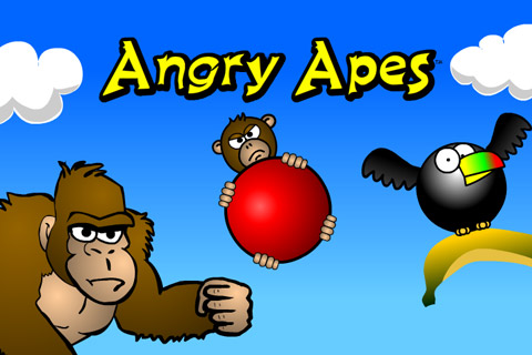 Angry Apes chase a bird flying away with their banana