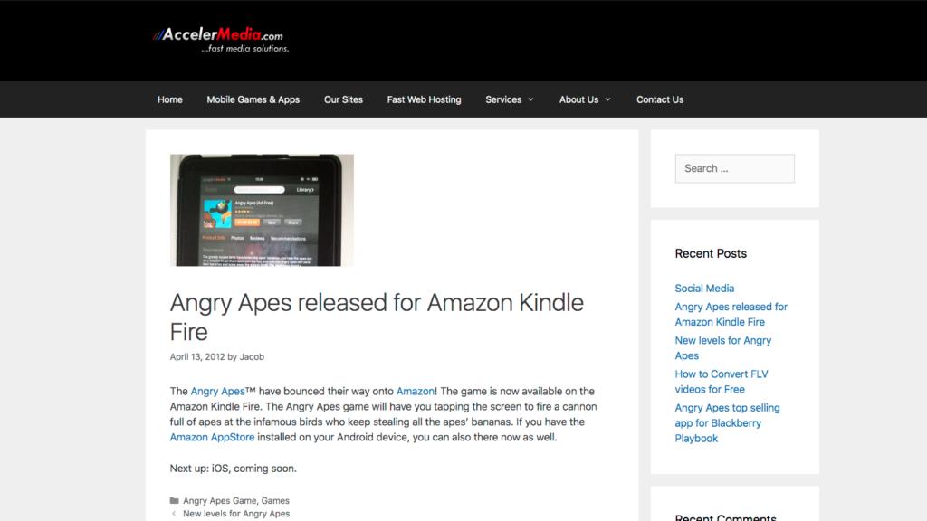 screenshot of Accelermedia site built on WordPress